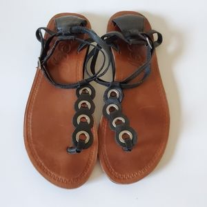 Reef Leather T-strap Sandals With Grommets